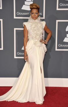 Rihanna arrives at the 52nd Annual GRAMMY Awards on Jan. 31 at Staples Center in Los Angeles