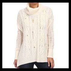 """Free People distressed cable knit sweater Intentional pulled threads in an oversized relax sweater. Fold over turtleneck. 41% acrylic, 20% wool, 9% alpaca. Approximately 28"""" long. Retails for $128.                                                           #18 Free People Sweaters Cowl & Turtlenecks"""