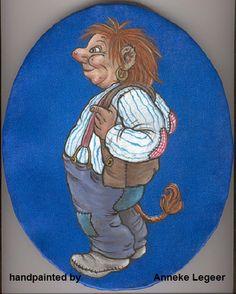 """"""" Troll pojke titapå mackapär """", handpainted by Anneke Legeer, the Netherlands, naar voorbeeld van Rolf Lidberg, 2007."""