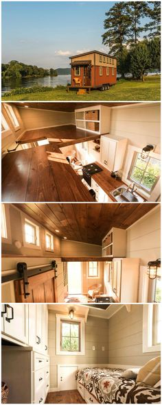 Boxcar is a wonderful tiny house built by Alabama-based Timbercraft Tiny Homes.  The 160 sq.ft. house includes two lofts and a downstairs area that can be used as a bedroom or home office. A mix of stained and painted pine tongue and groove interior finishes provides a warm, inviting ambience.  The price for this tiny home was approximately $55,000 as shown #tinyhouses #design #architecture #homedecor #interiordesign #homes