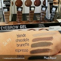 NYX Brow Gel swatches