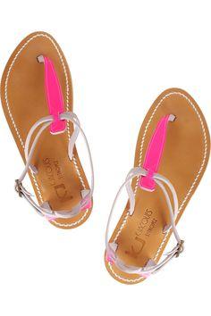 K Jacques St Tropez Buffon patent-leather and nubuck sandals NET-A-PORTER.COM