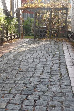 Cambridge - Stone drive on Antrim Street, Cambridge, MA Stone drive on Antrim Street.Stone drive on Antrim Street. Cobblestone Driveway, Driveway Paving, Driveway Entrance, Driveway Landscaping, Concrete Driveways, Stone Walkway, Stone Path, Outdoor Landscaping, Walkways