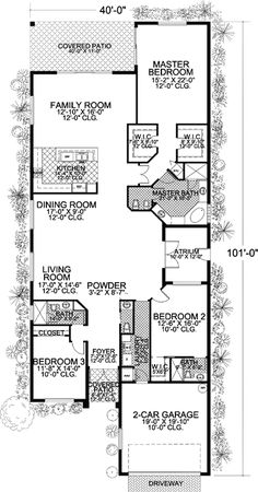 Plan W32183AA: Florida, Narrow Lot, Mediterranean House Plans & Home Designs