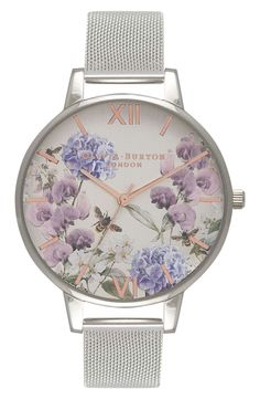 Blooming flowers and busy bees set a colorful springtime scene on this charming timepiece paired with a comfortable, stainless-steel mesh strap.