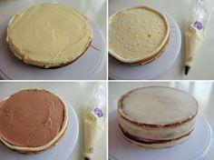 Vullen van een taart met botercrème en taartvulling   Taarten maken, taart bakken en cupcakes versieren   Taart recepten