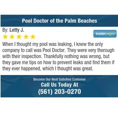 When I thought my pool was leaking, I knew the only company to call was Pool Doctor. They...
