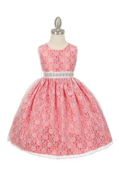 Girls Dress Style 1132BT - CORAL Taffeta and Lace CREATE YOUR OWN DRESS  The perfect dress for her special day, this dress is so stylish. The dress is made in beautiful floral lace and the waist line is accented with an adorable bow. The skirt on this dress has the perfect amount of fullness. Comes in endless removable rhinestone sash options.  http://www.flowergirldressforless.com/mm5/merchant.mvc?Screen=PROD&Product_Code=CC_1132BT_CO&Store_Code=Flower-Girl&Category_Code=Coral_Pea..