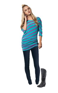 We paired our striped tunic with our skinny trouser jeans for a great casual outfit! Add our tie-back wedge boots to complete the look!