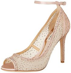 785db991f7dd Badgley Mischka Women s Weylin Pump. Glittering tonal crystals scatter over  the upper and heel of a lustrous peep-toe mesh pump secured by a slim ankle  ...