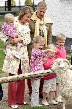 Belgium Royals Prince Philippe (Heir to the Belgium Throne) and Princess Mathilde  With Their Children, Princess Eleonor, Princess Elisabeth, Prince Emmanuel and Prince Gabriel.