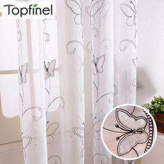 Topfinel Cotton Linen White Ready Made Cheap Embroidered Sheer Butterfly Curtains for Living Room Bedroom Children Kids Room - Children's Room Modern Net Curtains, Girls Room Curtains, Butterfly Shower Curtain, Kitchen Window Curtains, Small Bathroom Vanities, Printed Curtains, Curtain Patterns, Textiles, Modern Room