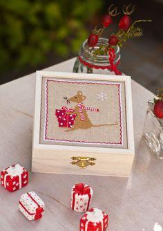 Holzkästchen mit Stickanleitung -Maus- wie süß :) sticken, stitching, embroider