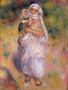 Algérie - Peintre Français Pierre-AugusteRenoir(1841 -1919), huile sur toile , Titre :  femme Algérienne avec enfant