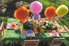 Dr. Suess Party http://www.gwynnwassondesigns.com/2012/03/gwd-parties-dr-seuss-lorax-inspiration.html