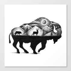 Nature Landscape Tattoo Shape 68 Ideas For 2019 Animal Drawings, Art Drawings, Bison Tattoo, Buffalo Tattoo, Buffalo Art, Buffalo Painting, Petit Tattoo, Stippling Art, Landscape Tattoo