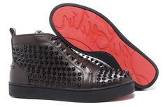 Christian Louboutin Sale Christian Louboutin Louis Spikes Sneakers Chocolate - Color: Chocolate Material: Leather Rolling has become a favorite for the girl that likes to show off her harder side while zipping around town. With the Spikes. Mens High Top Shoes, High Top Sneakers, Men Sneakers, All Retro Jordans, Christian Louboutin Sale, Baskets, Red Louboutin, Shoes Outlet, Slippers