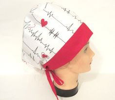 7a68f9ecfc4 Items similar to EKG Surgical Scrub caps  EKG Surgical scrub Hats  Doctors  scrub caps on Etsy