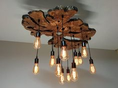 Funky Live-edge Olive wood Chandelier