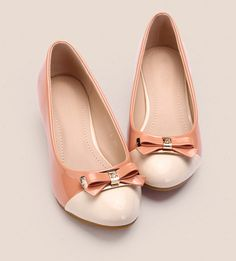 Women's #pink leather #heel wedge court hoe bow decorated blue vamp, leather upper and lining.
