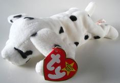 9b00569911f Ty Beanie Baby SPARKY Retired 1996 Original White Black Spot Dog Plush Toy  Animal Rare Collectible Free Shipping
