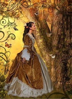 Steampunk Rococo Marie Antoinette Gown Brocade and Silk Custom Renaissance Dress Pattern