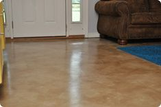 How to stain concrete floors - DIY Stained Concrete Floors Living Room. I'm really planning on doing this to my living room floor. Concrete Stain Colors, Painted Concrete Floors, Painting Concrete, Stained Concrete, Concrete Staining, Concrete Bedroom, Floor Painting, Concrete Projects, Rustic Homes