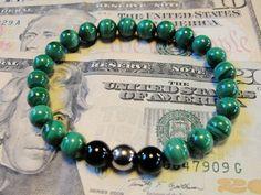 "BoyBeads-Handmade Natural Stone Bead Bracelets   BOYBEADS ""PROSPERITY"" Natural Green Malachite bead bracelet for Men"