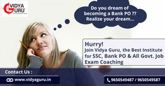 Want to become a Bank PO... Make your Dream come True.. Enroll now.. Call: 9650549487 or 9650549587 Visit: http://www.vidyaguru.in/