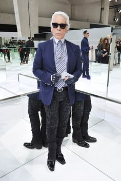 Karl Lagerfeld Front Row at Dior Homme