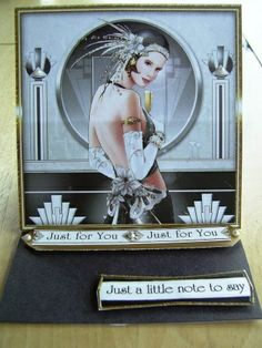Art deco card. Monochrome styling by Lorna @exclusivelyyours.co in Scotland.