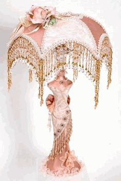 Mannequin Bodice Victorian Lamp with Beaded Lamp Shade