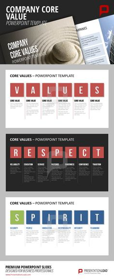 A presentation upon your company's core values is coming up and you are lacking ideas how to present them in an appealing way? Take a look at our new PowerPoint set based upon the topic of Core Values and give your core values the attention they deserve. Download now at http://www.presentationload.com/company-core-value-powerpoint-template.html