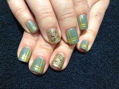Shellac Wild Moss and gold glitter