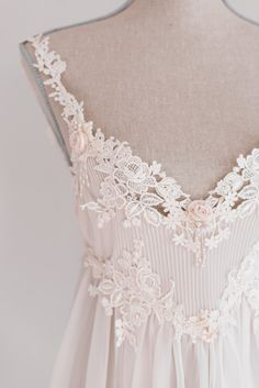 Vintage Bloomingdales Light Pink Sheer Lace Embroidered Bridal Nightgown and Shoulder Padded Robe for Wedding or Valentines. $109.00, via Etsy.