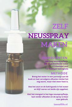 DIY neusspray van slechts 3 ingrediënten - Mariska @ Bespoke by you Herbs For Health, Health Tips, Braut Make-up, Health Magazine, Natural Cosmetics, Natural Medicine, Indian Summer, Diy Beauty, Natural Health