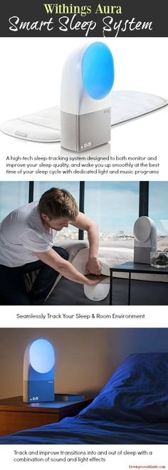 Withings Aura - Smart Sleep System - A high-tech sleep-tracking system designed to both monitor and improve your sleep quality, and wake you up smoothly at the best time of your sleep cycle with dedicated light and music programs | How to improve Sleep. F