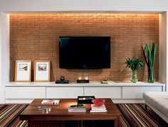 Living Room Tv Wall Decor Apartments Interiors Ideas For 2019 Living Room Tv, Home And Living, Tv Wall Design, House Design, Muebles Living, Tv Wall Decor, Home Tv, Living Room Designs, Sweet Home