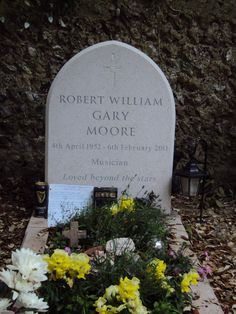 A widely acclaimed guitarist, he is best known for his contributions while a member of the Irish rock band Thin Lizzy, as well as his career as a solo artist. Cemetery Headstones, Cemetery Monuments, Cemetery Art, Irish Rock, Thin Lizzy, Celebrity Deaths, Famous Graves, After Life, Blues Music