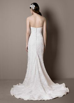 Lace Over Charmeuse Gown with Soutache Detail - David's Bridal