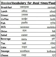 Russian words for meal times