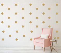 Polka Dots Wall Art Wall Decal Gold by foxandcloverboutique