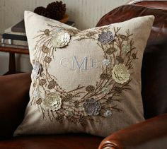 Neutral Wreath Embroidered Pillow Cover | Pottery Barn