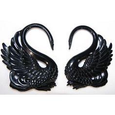 BLACK swan spiral ear gauges - 10g - 0g ornately carved, org ...