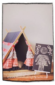 Kids Coral, Navy and Grey Ruffle Teepee Tent made to by TeepeeandTent, $199.99