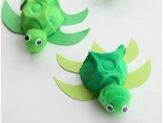 activité manuelle avec boite a oeuf, tortues vertes en carton pour oeufs