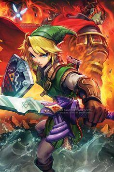 The Legend of Zelda Link and Ganon Ganondorf Poster Print | Etsy