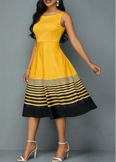 Beautiful Woman Round Neck Stripe Print High Waist Dress on Yellow color . African Print Fashion, African Fashion Dresses, Fashion Outfits, Dresses For Sale, Summer Dresses, Seshoeshoe Dresses, Woman Dresses, Amanda, Spandex Dress