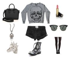 """""""Skulls fashion"""" by ilovemusic2014 ❤ liked on Polyvore featuring moda, Abercrombie & Fitch, Gucci, Ash, Illustrated People, SPANX, Givenchy, Ray-Ban i Alexander McQueen"""