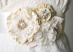 Custom Floral Wedding Gown Sash Made to Order by rosyposydesigns, $160.00